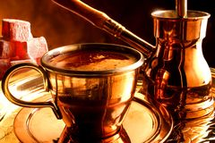 Traditional serving of Turkish coffee Royalty Free Stock Image