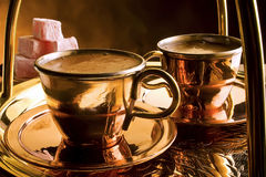 Traditional serving of Turkish coffee Royalty Free Stock Photos