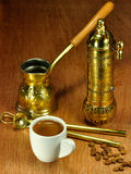 Traditional set for arabic and greek coffee Royalty Free Stock Image