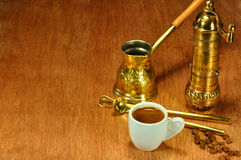 Traditional set for arabic and greek coffee Royalty Free Stock Photo