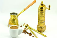 Traditional set for turkish and greek coffee Royalty Free Stock Photo
