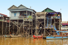 Traditional settlement at the Tonle Sap river Royalty Free Stock Images
