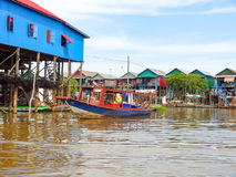 Traditional settlement at the Tonle Sap river Stock Photo