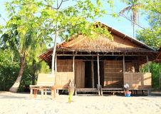 Traditional shack. Traditional indonesian shack made from wood, bamboo and palm leaves - homestay in touristic village Arborek (Raja Ampat, Papua Barat Stock Photo