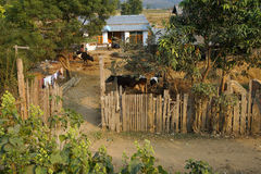 Traditional Shan house on stilts in Hsipaw Stock Photo