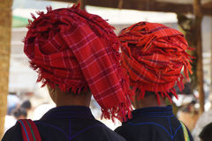Traditional Shan red headdress Stock Images