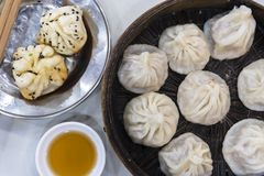 Traditional Shanghai food including dumpling, wonton and xiaolongbao Royalty Free Stock Images