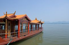 Traditional ship on the Xihu Stock Image