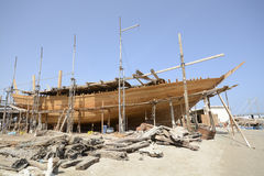 Traditional shipbuilding in Oman. Picture taken in Sur Royalty Free Stock Images