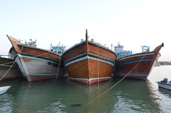 Traditional Ships. Iranian traditional port, Deylam, with a lot of launches anchored near Persian gulf Royalty Free Stock Image