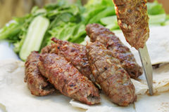 Traditional shish kebab from lamb meat Stock Photo