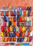 Traditional shoes in Morocco. stock photo