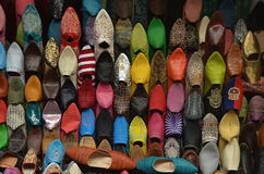 Traditional shoes in Morocco. Traditional shoes in small shop at tanger city, Morocco Stock Images