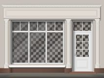 Traditional shop facade with big window and columns. Traditional small shop facade with large window and columns. Front view. Showcase with transparent glass royalty free illustration