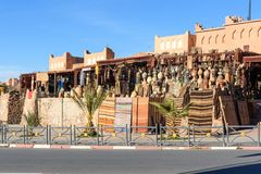 Traditional shop in Ouarzazate, Morocco. Ouarzazate, Morocco - Jan 4, 2017: Traditional shop on street in the city. Ouarzazate area is film-making location royalty free stock photos