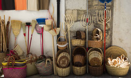 Traditional shop of wicker baskets and bags Stock Photography