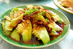 Traditional Sichuan food cooked cucumber vegetable Royalty Free Stock Photos