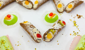 Traditional Sicilian Pastry, Cannoli Siciliani. Royalty Free Stock Photos