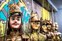 Traditional Sicilian puppets. Original Pupo Siciliano Sicilian puppets, Italy. The Sicilian puppets theatre is UNESCO Heritage royalty free stock photos