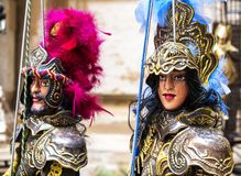 Traditional Sicilian puppets, Sicilian puppets. Traditional Sicilian puppets used for The Opera dei Pupi is a theatrical performance of marionettes of romantic royalty free stock images