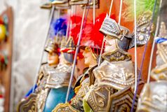 Traditional Sicilian puppets called Pupi. Traditional Sicilian puppets used for The Opera dei Pupi is a theatrical performance of marionettes of romantic poems stock images