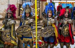 Traditional Sicilian puppets, Sicilian puppets. Traditional Sicilian puppets used for The Opera dei Pupi is a theatrical performance of marionettes of romantic royalty free stock image