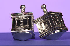 Traditional silver dreidels Royalty Free Stock Photos