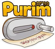 Metal gragger over blotted name of Haman to Celebrate Purim, Vector Illustration. Traditional silver gragger over a scroll with blotted name of Haman for the Royalty Free Stock Image