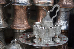 Traditional silver tea set Royalty Free Stock Photography