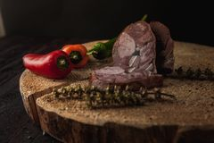 Traditional simple meal setup with meat and vegetables. And lemon Royalty Free Stock Photography