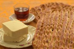 Barbari Bread, with Cheese and Tea royalty free stock photography