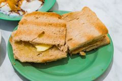 Singapore Breakfast Kaya Toast, Coffee bread and Half-boiled egg Royalty Free Stock Photography