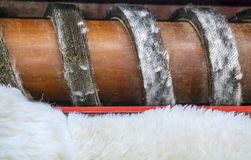 Traditional skin processing at tannery in Scotland royalty free stock photography