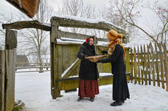 Traditional Slavonic divination. Minsk, Belarus - January 18, 2014: Traditional divination during the Old Slavonic holiday Kalyada in Strochitsy in Belarusian Stock Photos