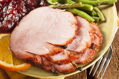 Traditional Sliced Honey Glazed Ham Stock Images