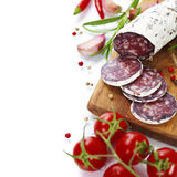 Traditional sliced meat sausage salami Stock Photography