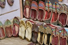 Traditional slippers from India royalty free stock photography