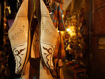 Traditional slippers in souk Royalty Free Stock Photo