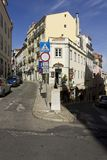 Traditional slope street in Bairro Alto quartier in Lisbon Stock Photography