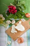 Traditional slovak cheese with vegetable and mushrooms Stock Photography