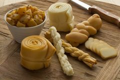 Traditional Slovak cheeses on a board Stock Photography
