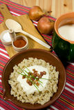 Traditional Slovak food. Dumpling (halusky) with sheep cheese (bryndza) with bacon, chives, onion and Zincica Stock Photo
