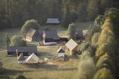 Traditional slovak wooden village. Aerial view royalty free stock photography