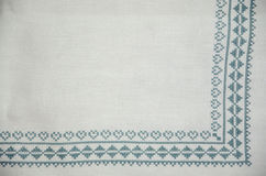 Traditional Slovakia embroidery tablecloth Stock Photos