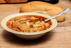 Traditional slovakian soup from beef tripe Royalty Free Stock Photos