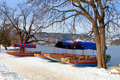 Traditional Slovenian boat on Lake Bled, Slovenia. Beautiful winter landscape with traditional Slovenian boats and church on Lake Bled, Slovenia Stock Photos