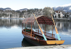 Traditional Slovenian boat on Lake Bled, Slovenia. A pletna, traditional Slovenian boat, on Lake Bled, Slovenia Stock Photography