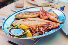 Traditional slovenian cuisine, mixed grilled fish and seafood with garlic oil. Selective focus Stock Image