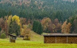 Free Traditional Slovenian Drying Frame Hay Rack Called A Kozolec In The Countryside Near Lake Bled, Slovenia, In The Autumn Season Royalty Free Stock Photography - 159863627