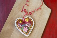 Traditional Slovenian gingerbread heart named LECT. Traditional Slovenian gingerbread heart with Slovenia written on it. Named LECTOV SRČEK in Slovenian Royalty Free Stock Images